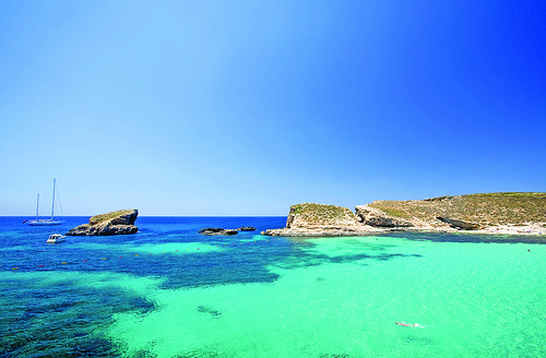 Blue lagoon in Malta on the island of Comino